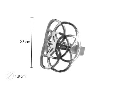 Ring - Blume des Lebens - Chirurgen Edelstahl-1034