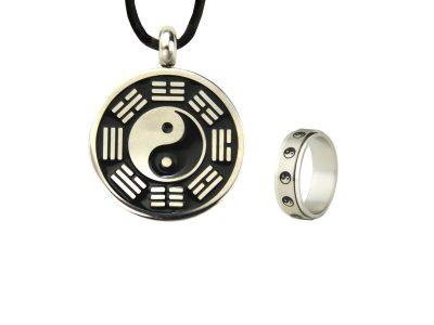 Schmuckset Yin Yang bestehend aus Ring und Kette -0