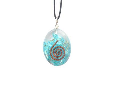 Orgonit Schutz Amulett - blaue Energie - Oval-0