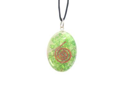 Orgonit Schutz Amulett - grüne Energie - Oval-0